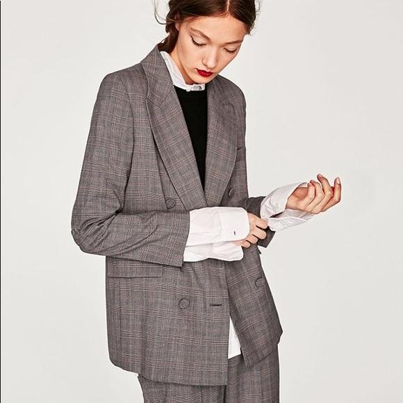 72a5e4b8 Zara Jackets & Coats | Womens Gray Checked Double Breasted Blazer ...